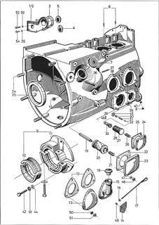 Porsche Traktor P 122 Motorblock Zeichnung und Einzelteile